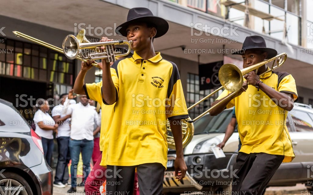 Brass Band Performing In The City Stock Photo - Download Image Now