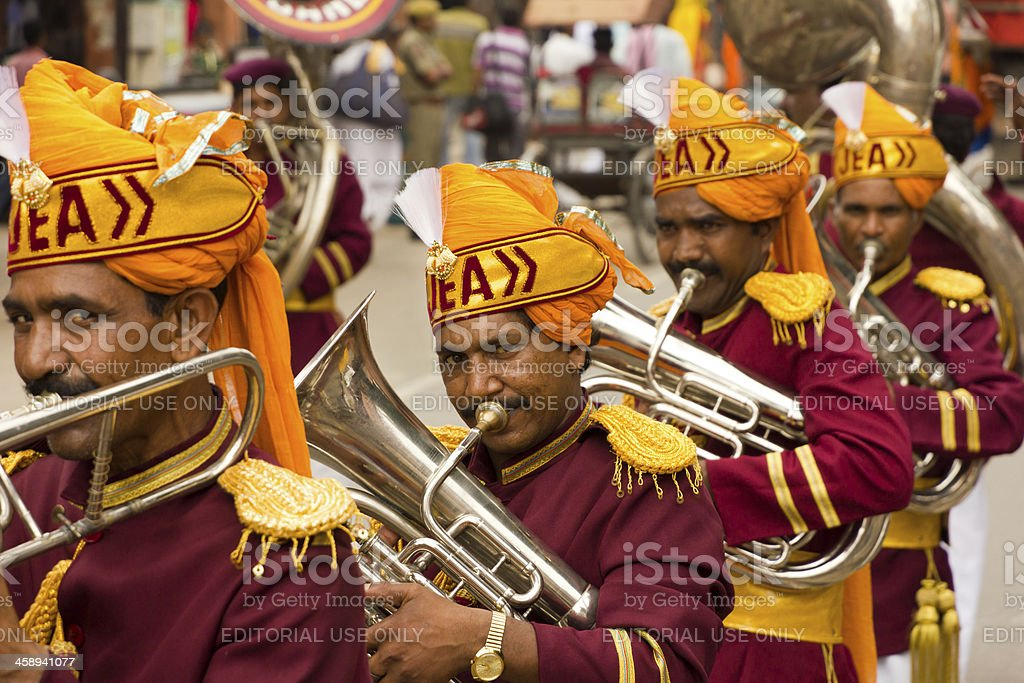 \'Jaipur, India - September 9, 2011: Indian brass band musicians...