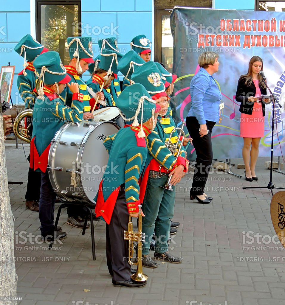 Brass band pupils in anticipation of results stock photo
