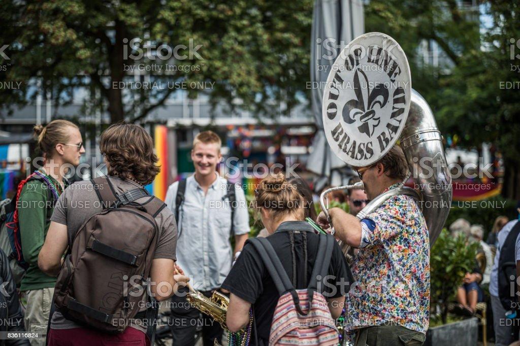 Brass band ready to participate in the Copenhagen Pride 2017 Parade stock photo