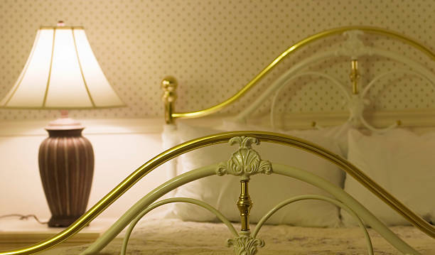 brass bed stock photo