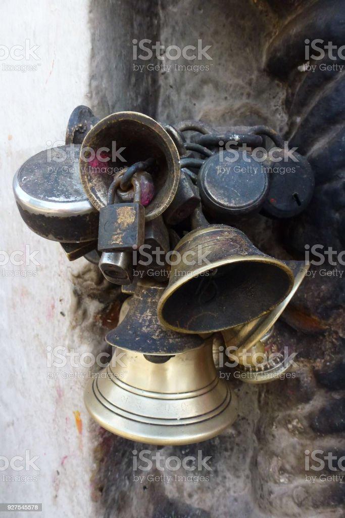 Brass bells at the Boudhanath Stupa, Kathmandu, Nepal stock photo