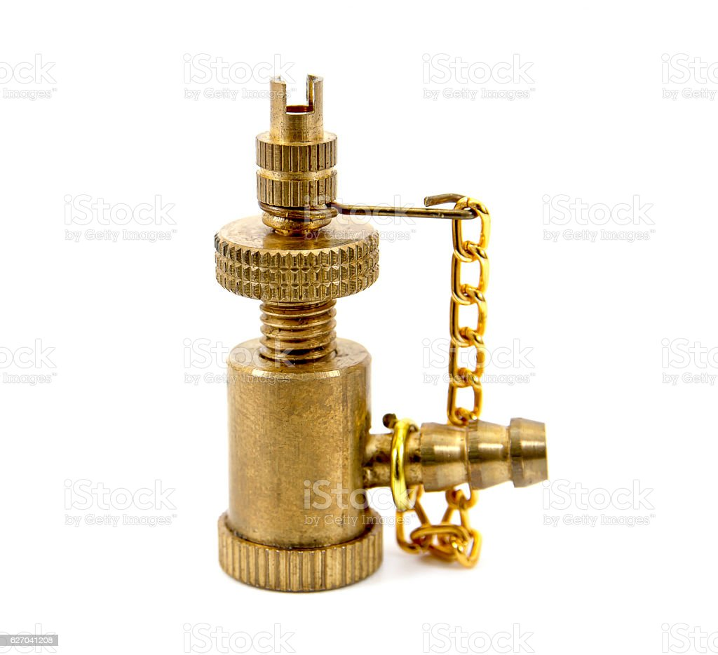 Brass bicycle tire pump head with chain isolated stock photo