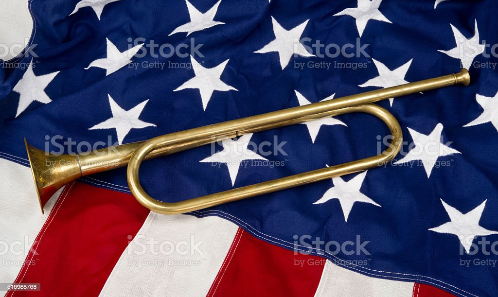 Brass Bugle. stock photo