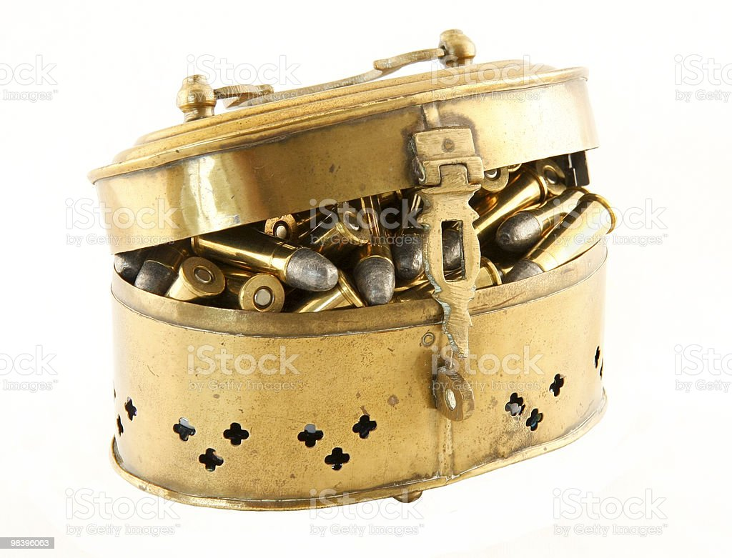 brass chest of bullets royalty-free stock photo