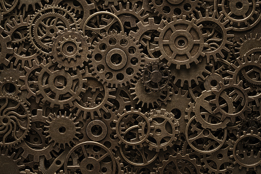 Brass cogwheels, steampunk background