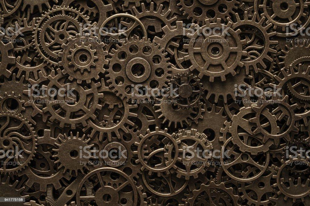 Messing-Zahnräder, Steampunk-Hintergrund – Foto