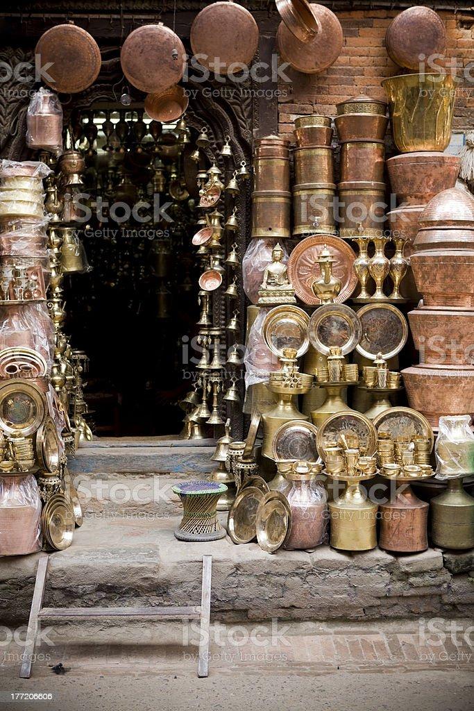 Brass Copper Craft Product Kathmandu Nepal royalty-free stock photo