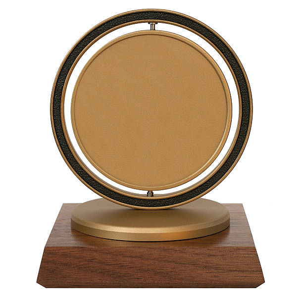 Brass corporate trophy stock photo