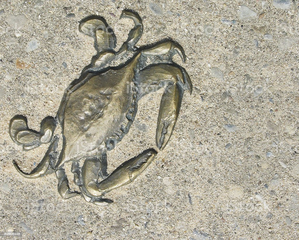 Brass crab plaque royalty-free stock photo