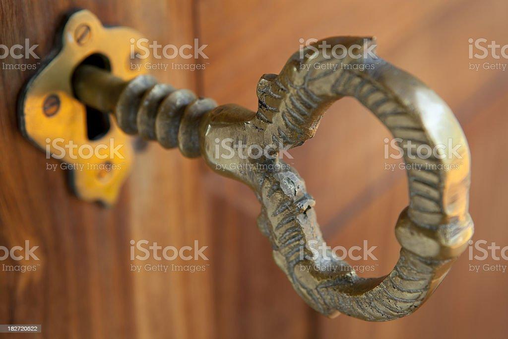 brass door lock key stock photo