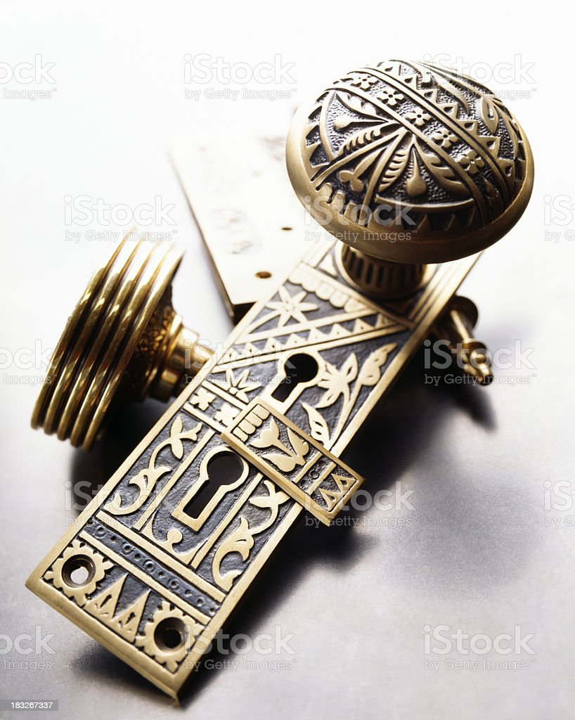 brass doorplate and door knob stock photo