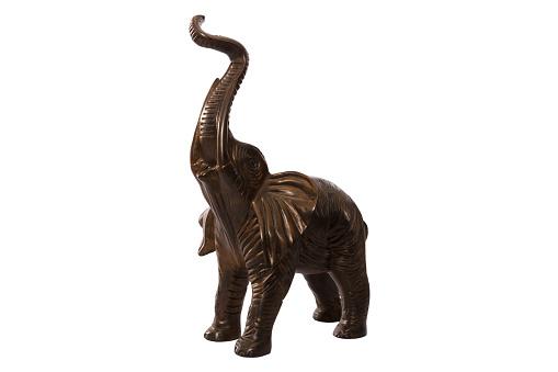 Brass elephant isolated on white background