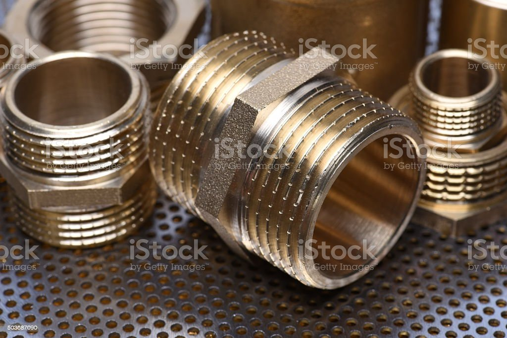 Brass Fittings for Water and Gas stock photo