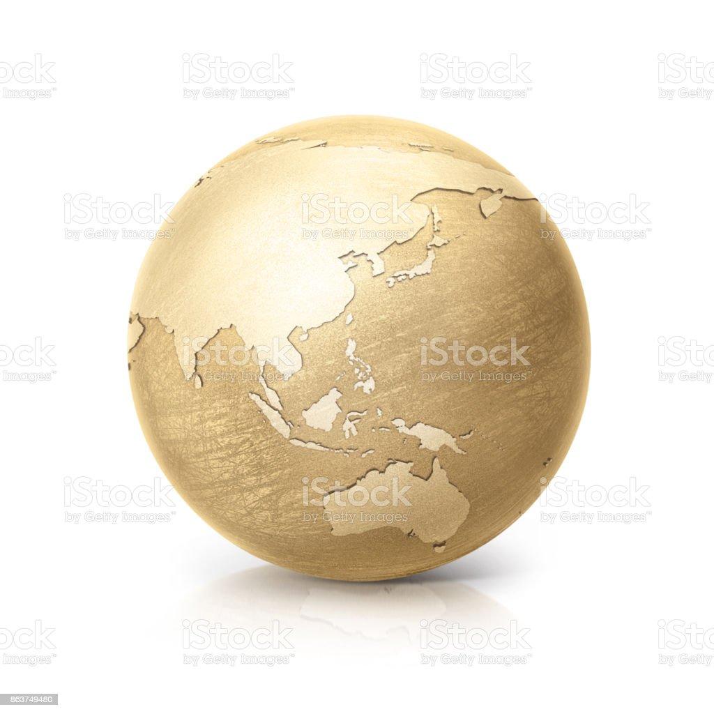 mapa de asia y australia de globo bronce sobre fondo blanco - foto de stock