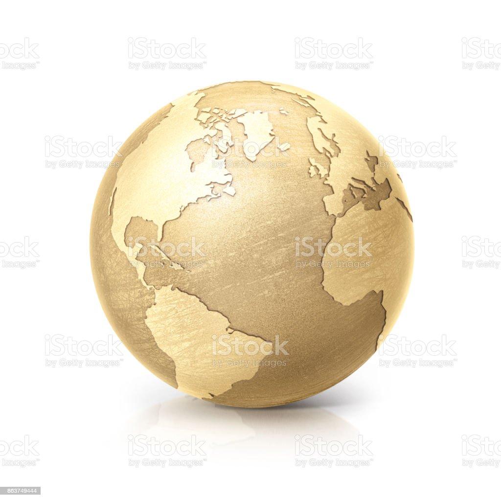 globo de cobre amarillo del norte y América del sur mapa sobre fondo blanco - foto de stock