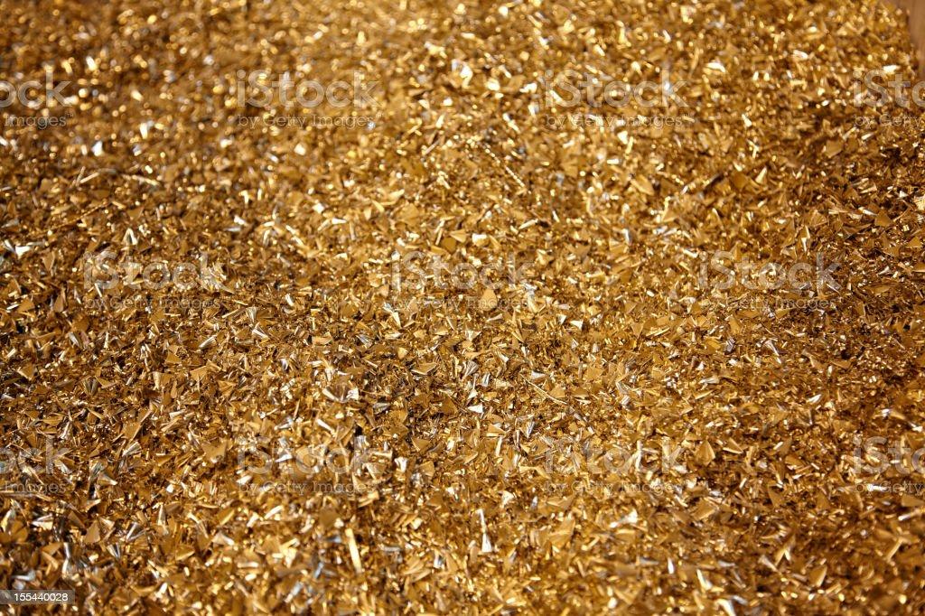 brass, golden metal shavings stock photo