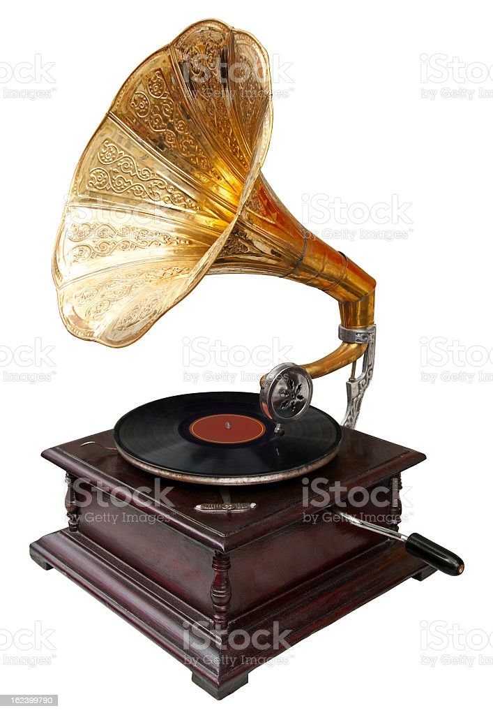 Brass gramophone with vinyl against white background stock photo