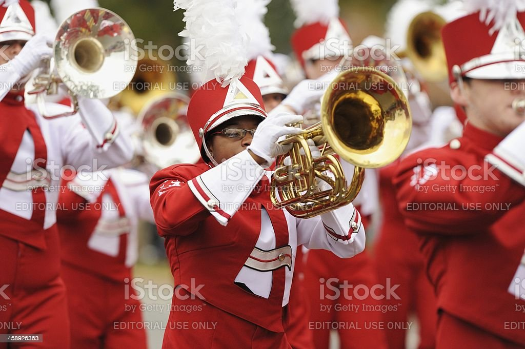 Brass instrument player in UA Million Dollar Band stock photo