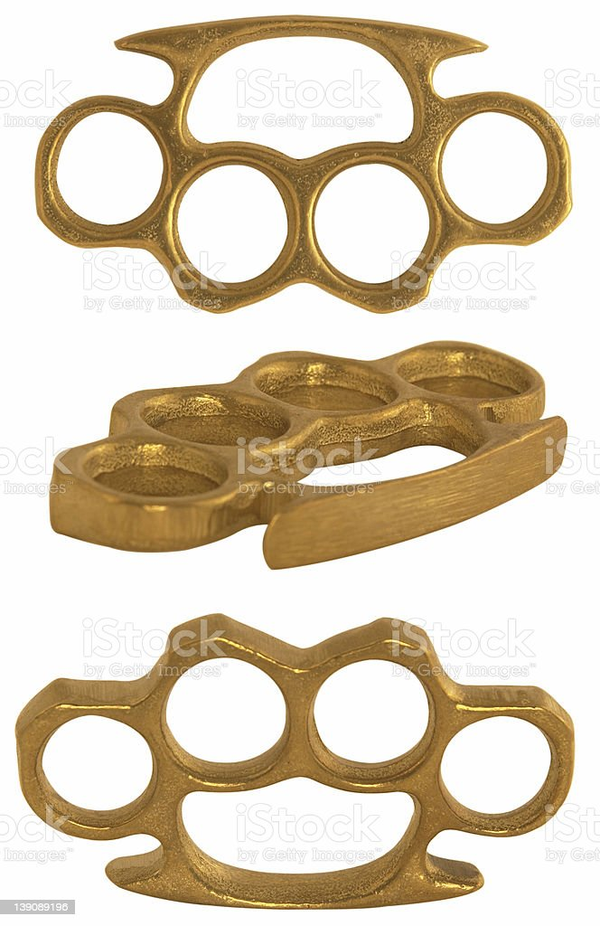 Brass Knuckles 3 Perspectives W/Clip Paths royalty-free stock photo