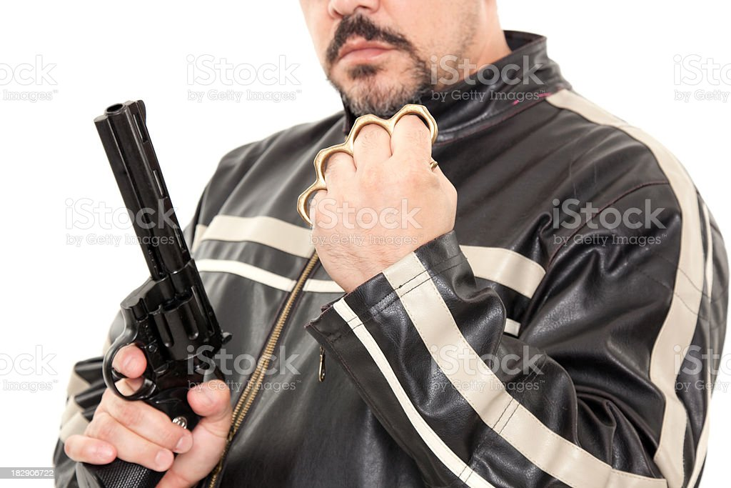 Brass Knuckles and Guns stock photo