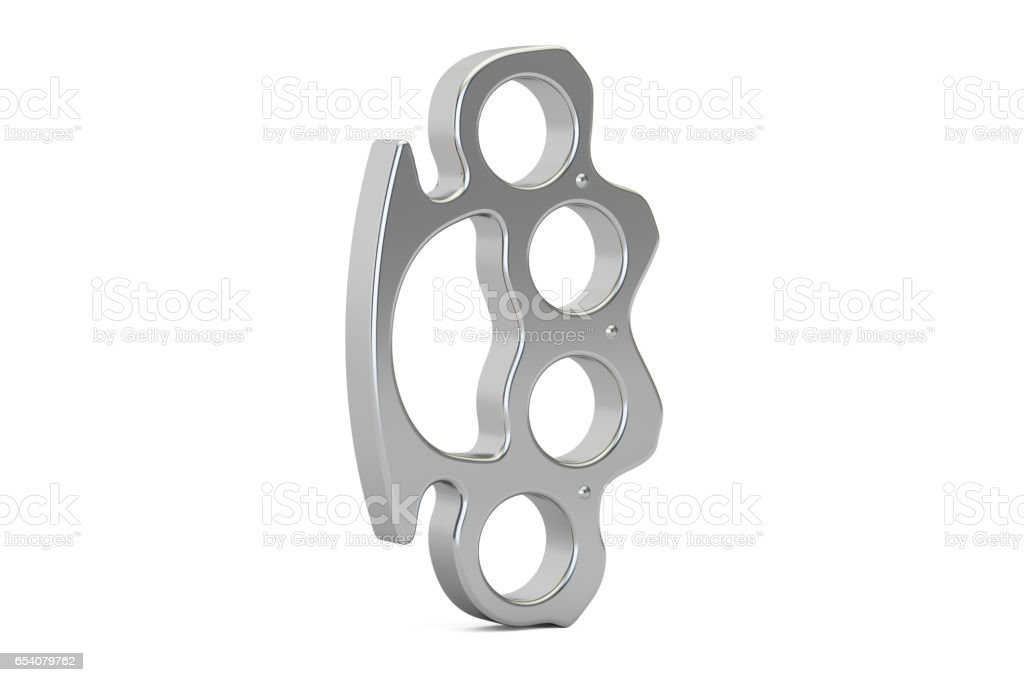 Brass knuckles closeup, 3D rendering isolated on white background stock photo