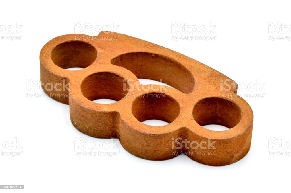 Brass knuckles on a white background stock photo