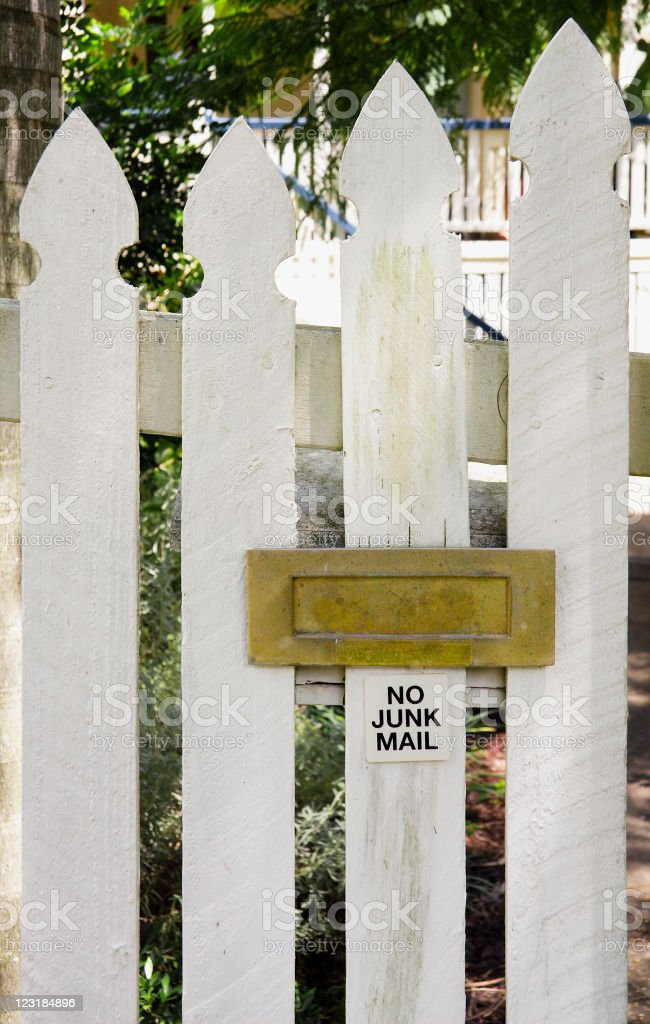Brass Letter slot with a no junk mail sign stock photo