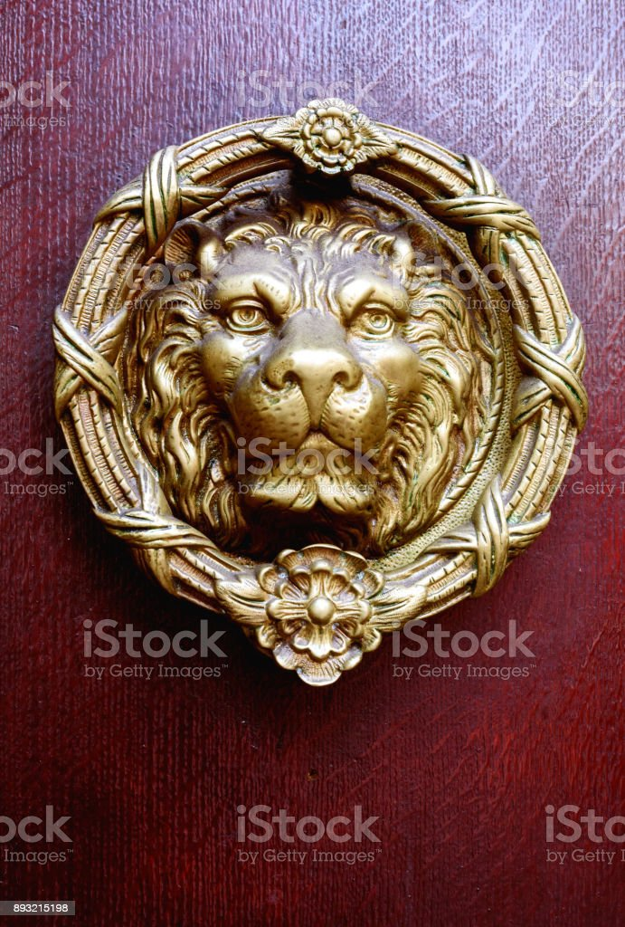 Brass Lion Head Door Knocker stock photo