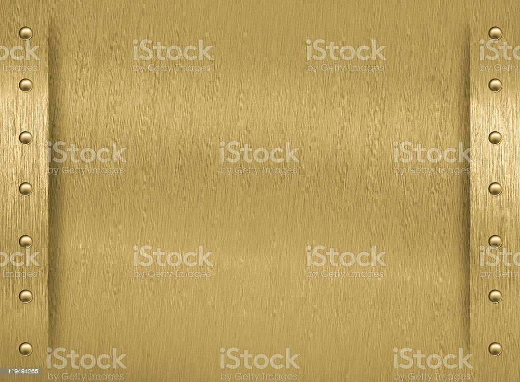 Brass metal plate with border and rivets royalty-free stock photo