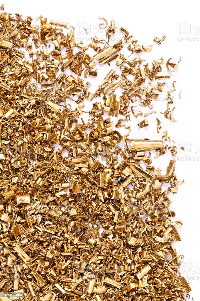 Brass metal shavings stock photo