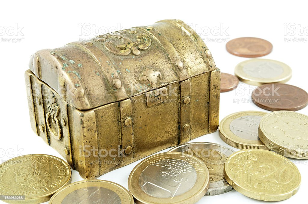 Brass money box and cash royalty-free stock photo