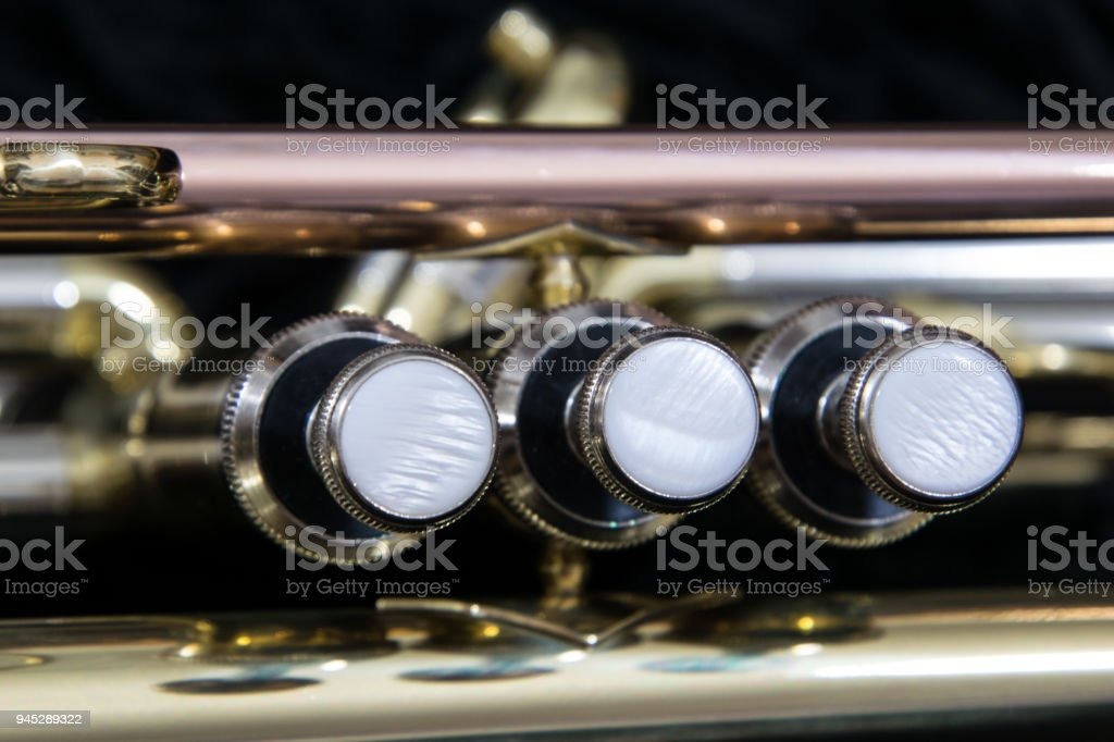 Brass musical instrument, trumpet close up stock photo