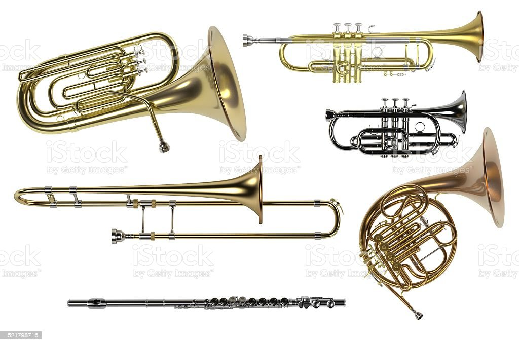 brass musical instruments stock photo