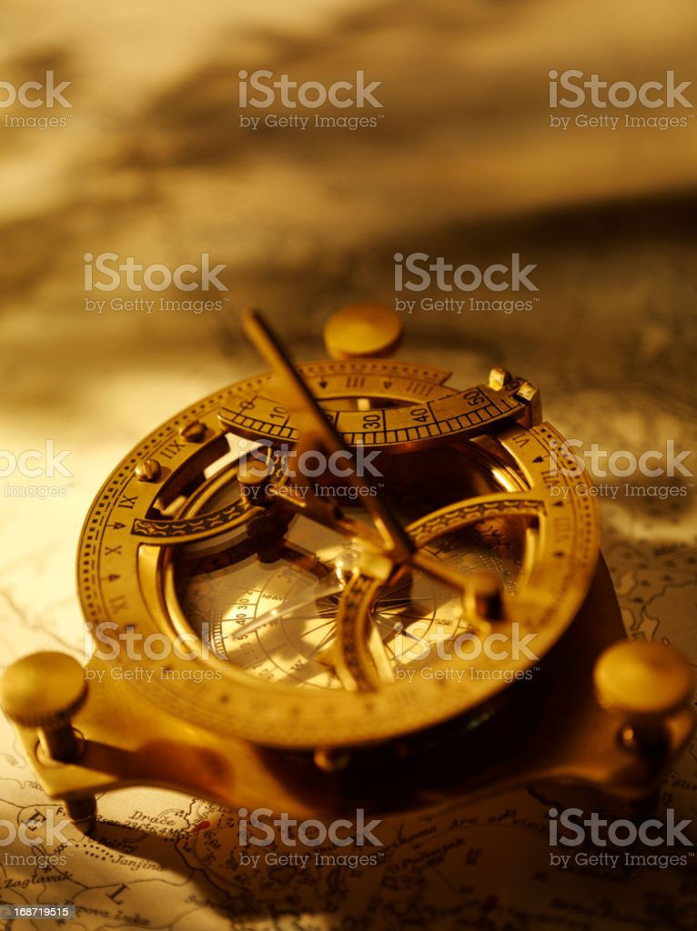 Brass Nautical Compass stock photo