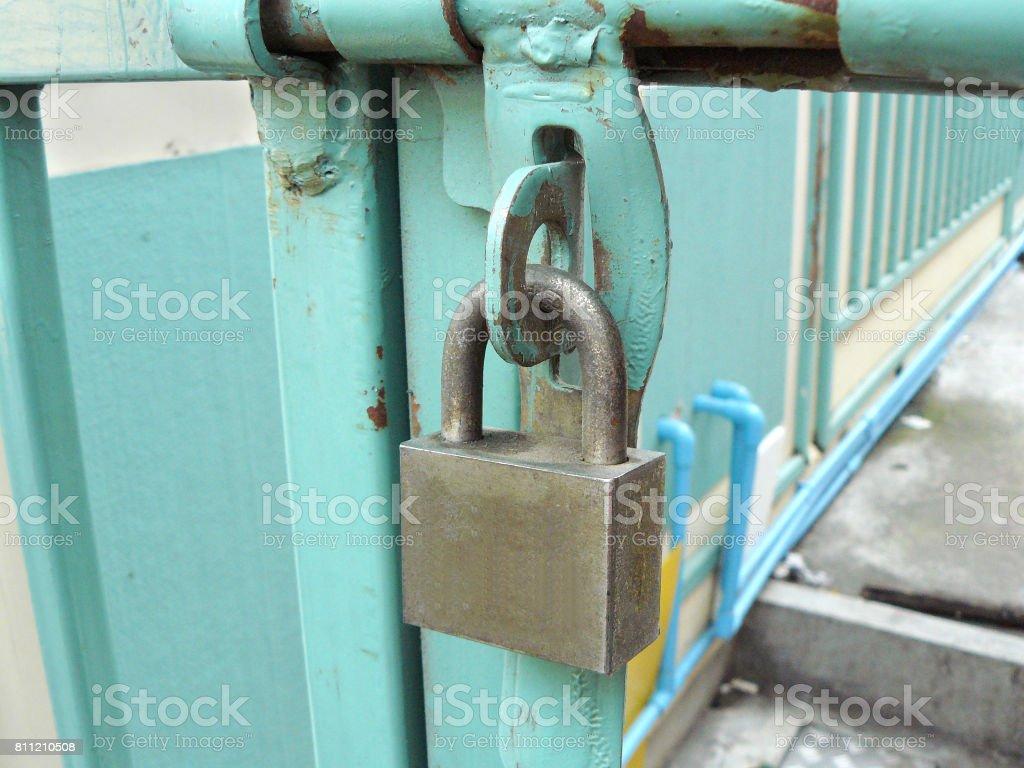 Brass padlock stock photo