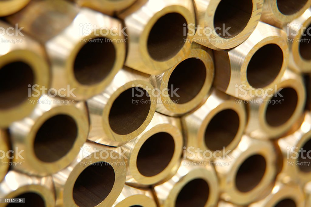brass pipes stock photo