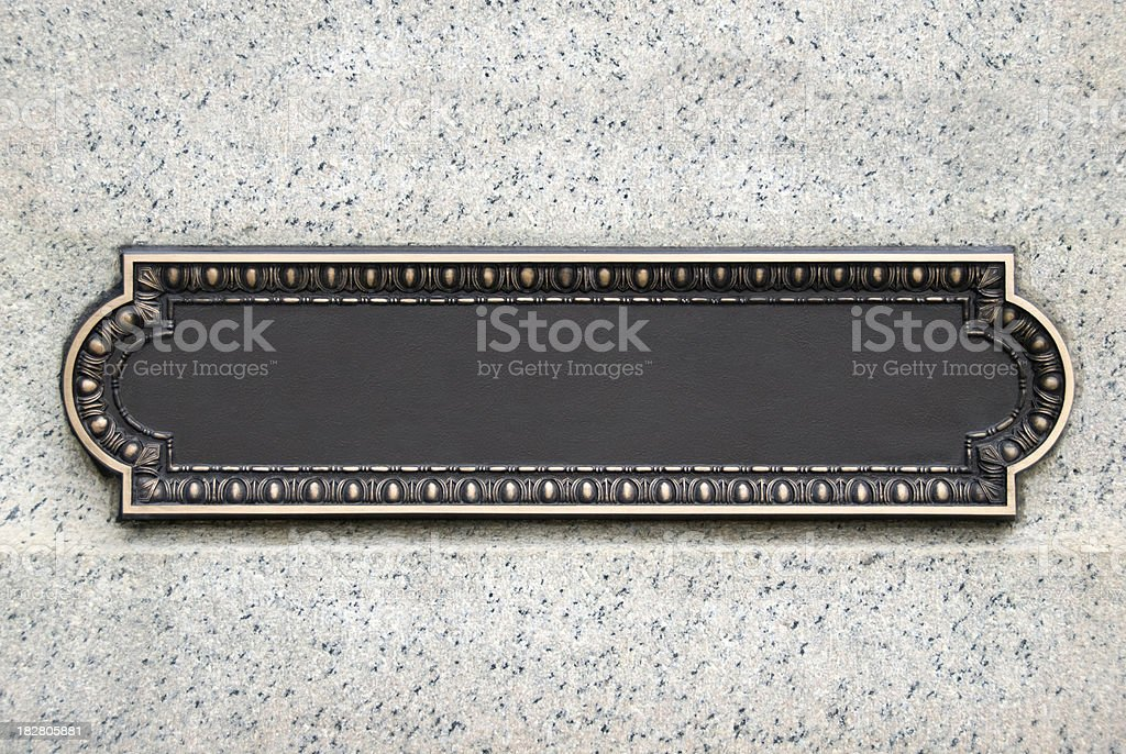 Brass Plaque stock photo