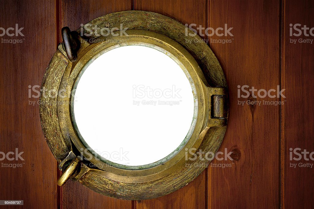 Brass Porthole stock photo