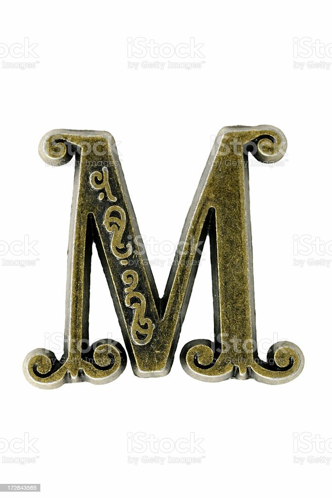 """brass """"letter M"""" royalty-free stock photo"""