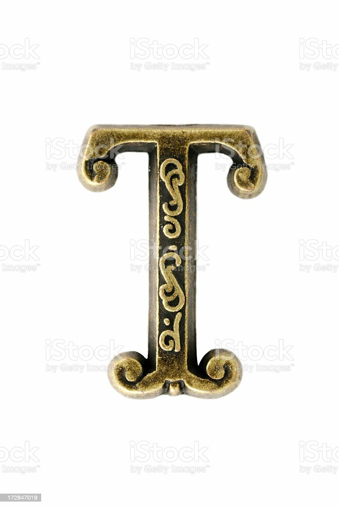 "brass ""letter T"" royalty-free stock photo"