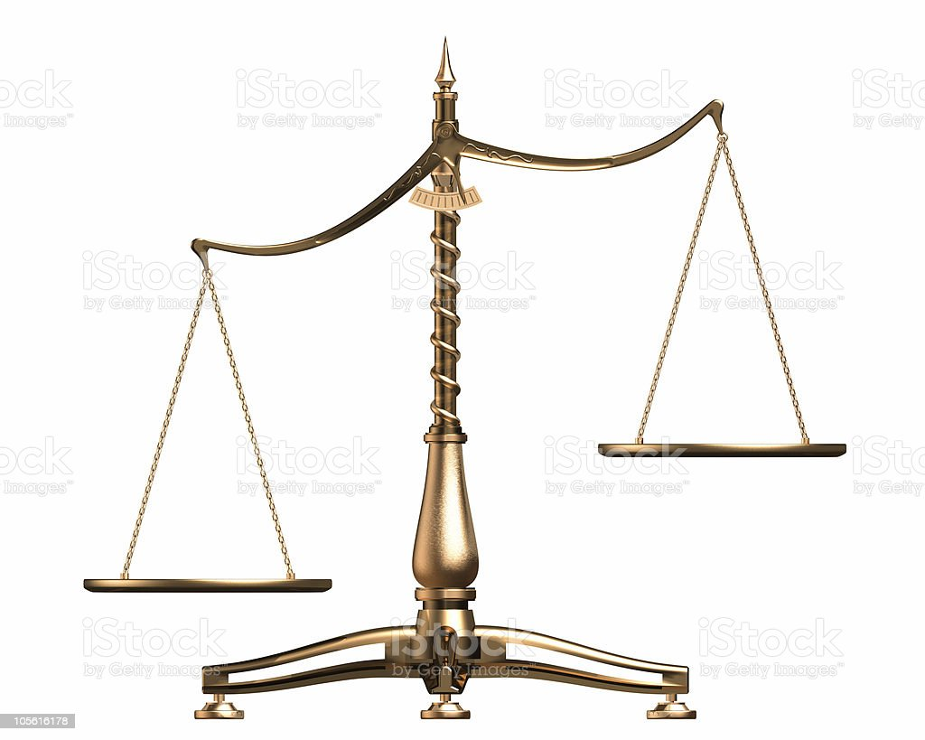 Brass scales 3D concept isolated on white royalty-free stock photo