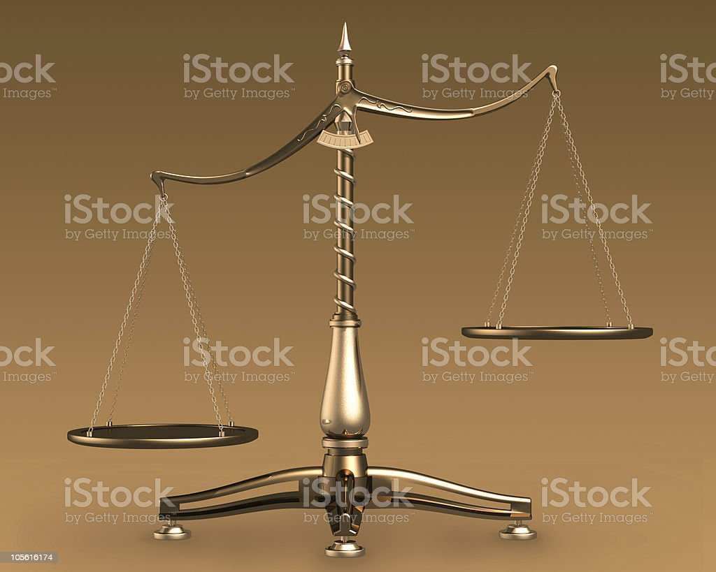 Brass scales 3D concept royalty-free stock photo