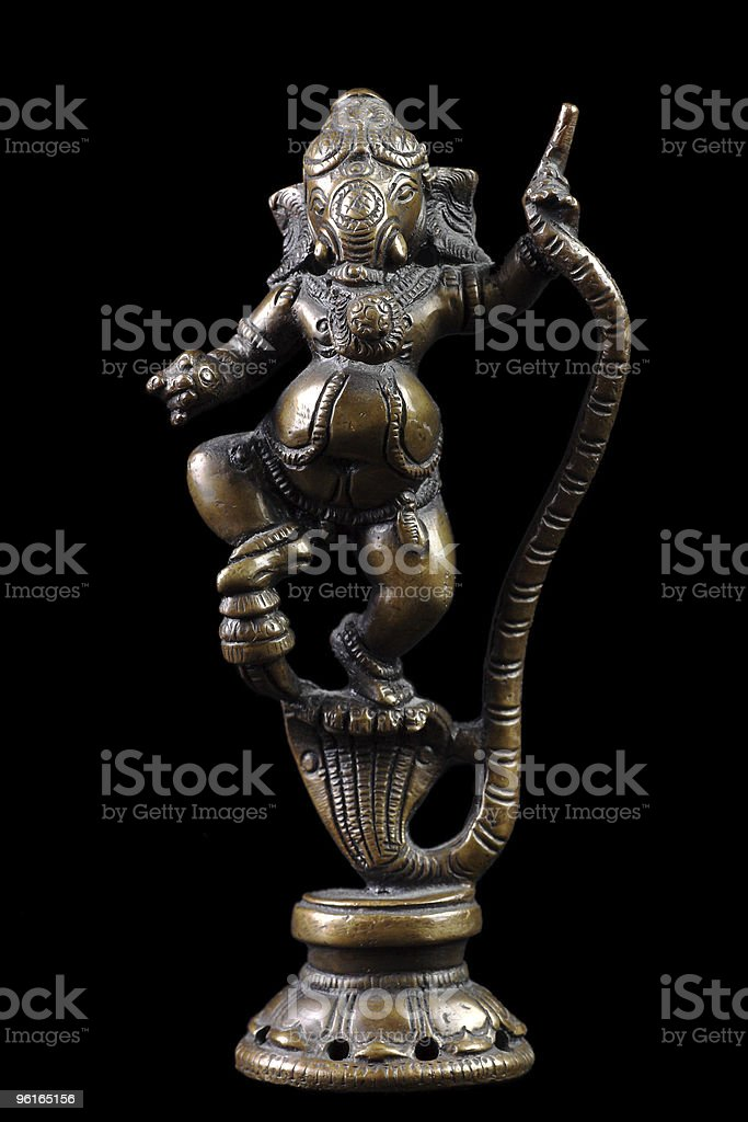 Brass sculpture of Ganesha stock photo