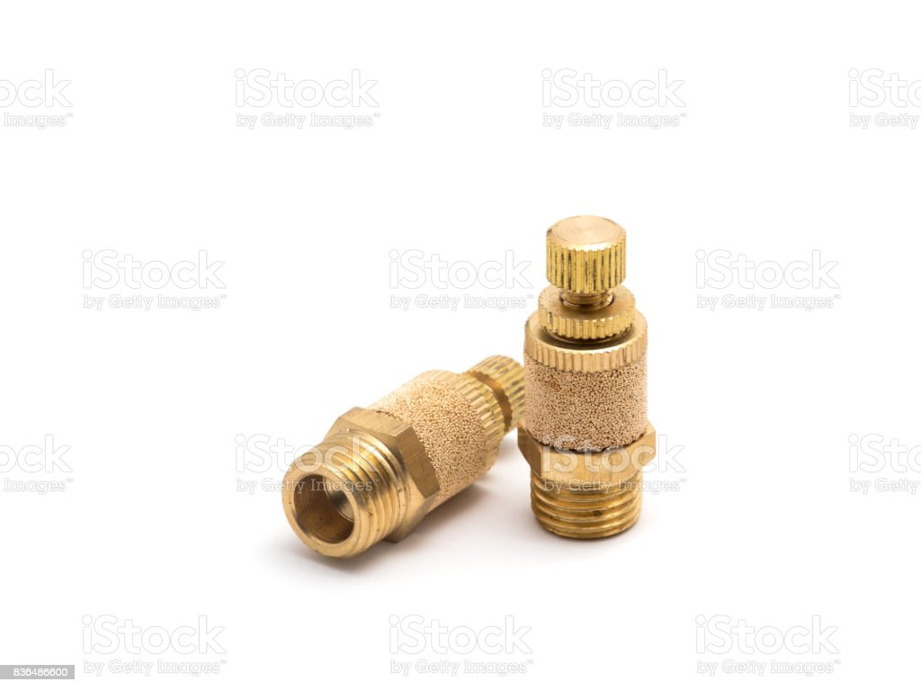 Brass silencer. stock photo