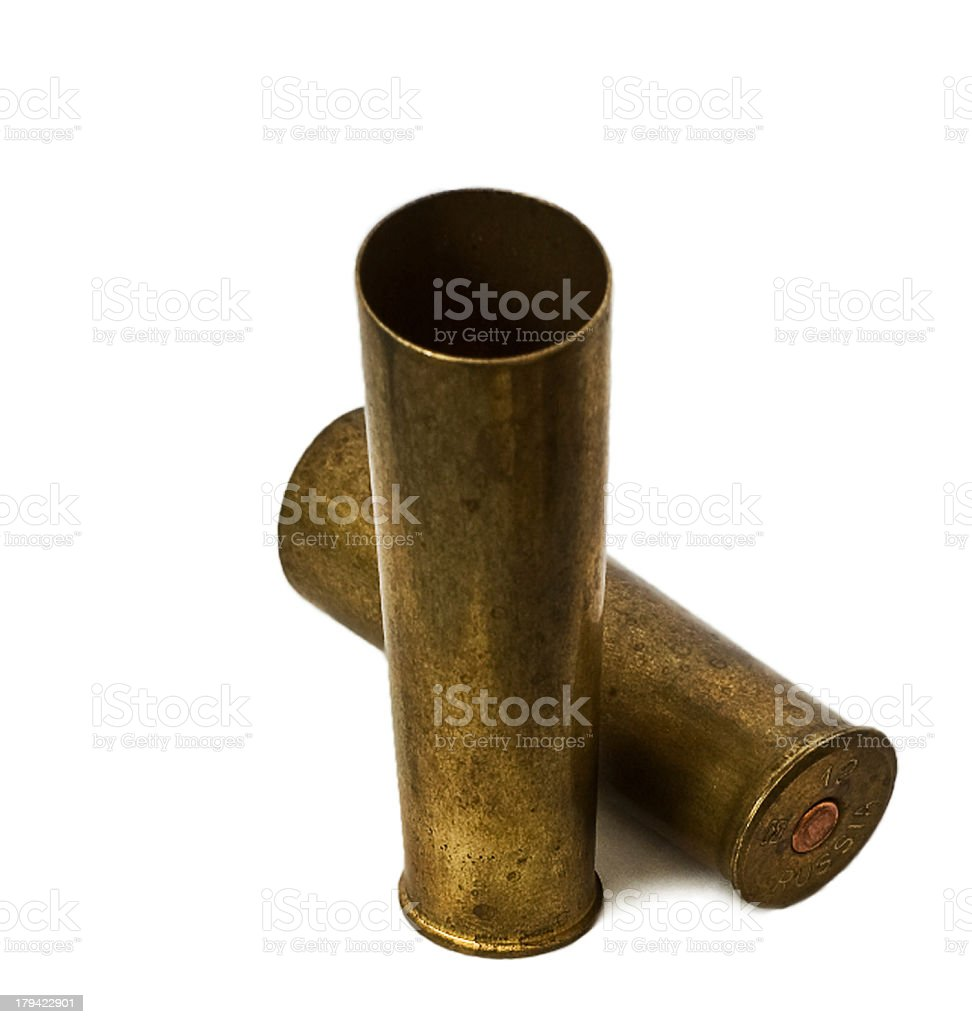 Brass sleeves with distortion on white background royalty-free stock photo