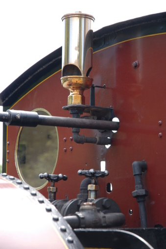 Brass Steam Whistle On Old Red Train Stock Photo ...