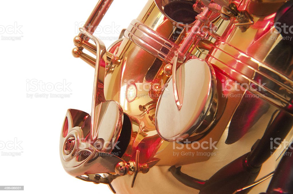 Brass tenor sax belly in closeup stock photo