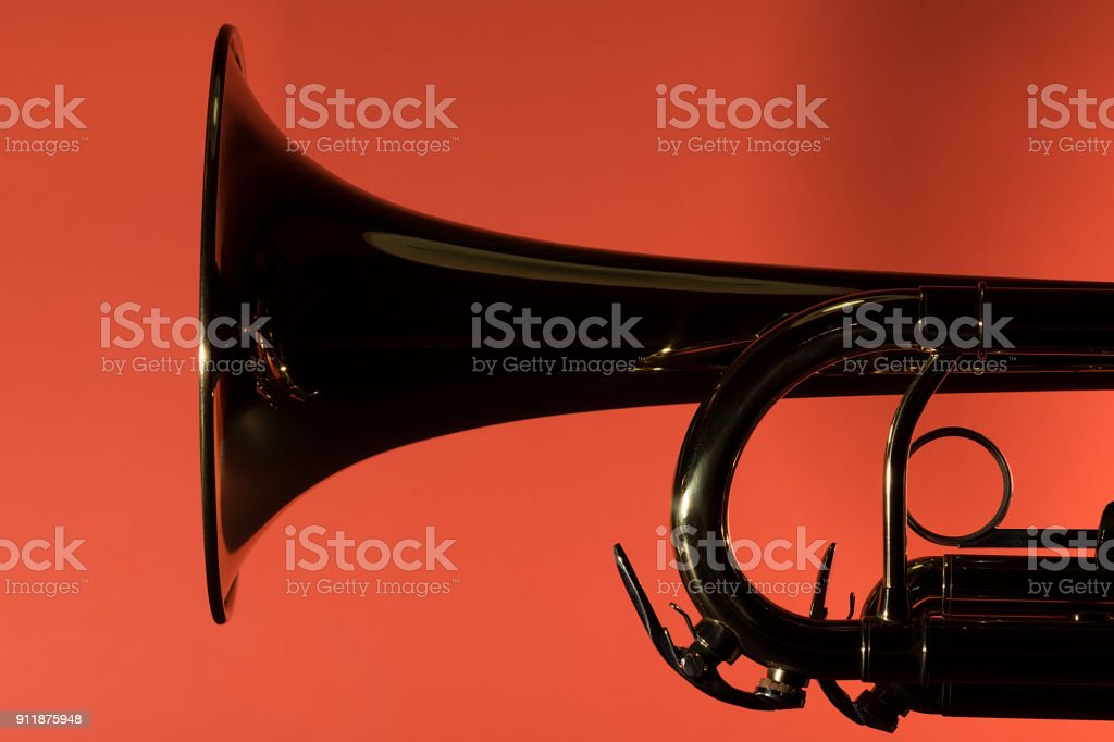 Brass trumpet bell detail closeup stock photo