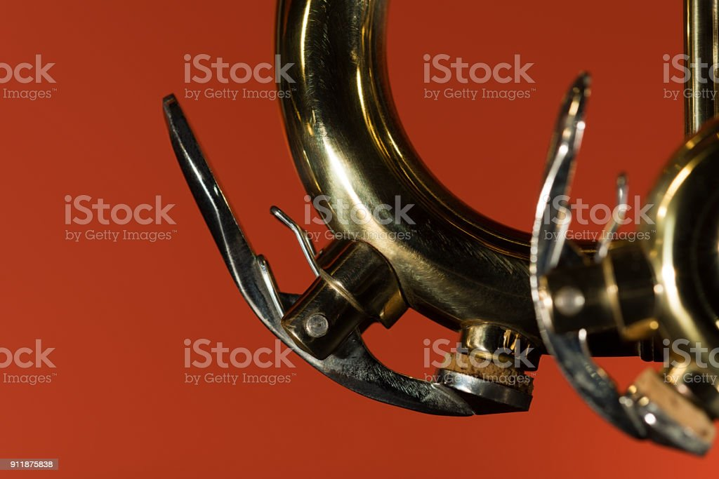 Brass trumpet detail closeup stock photo